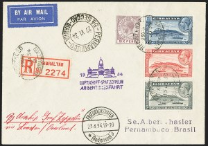 Sale Number 1143, Lot Number 3945, Flight Covers1934, June 23-July 6 Argentina Flight, Gibraltar to Pernambuco, Brazil Zeppelin Cover (Sieger 254), 1934, June 23-July 6 Argentina Flight, Gibraltar to Pernambuco, Brazil Zeppelin Cover (Sieger 254)