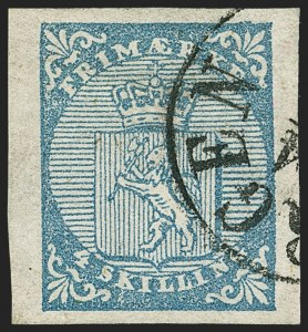 Sale Number 1143, Lot Number 4140, Collections and Accumulations - Europe thru Virgin IslandsNorway 1855 4s Blue Group (1; Facit 1), Norway 1855 4s Blue Group (1; Facit 1)