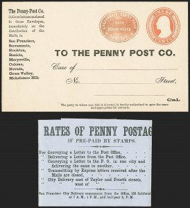 Sale Number 1144, Lot Number 167, 1851-56 Postal History: Indian Territory & Western CoversCalifornia Penny Post Co., San Francisco, 7c Vermilion on 3c Red on Buff Entire (34LU7), California Penny Post Co., San Francisco, 7c Vermilion on 3c Red on Buff Entire (34LU7)
