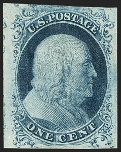 Sale Number 1144, Lot Number 18, 1c 1851-56 Issue, Types Ia-II (Scott 5A-7)1c Blue, Ty. II (7), 1c Blue, Ty. II (7)