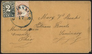 Sale Number 1144, Lot Number 182, 1851-56 Postal History: Carriers & LocalsBrowne & Co.'s City Post Office, Cincinnati O., 2c Black (29L2), Browne & Co.'s City Post Office, Cincinnati O., 2c Black (29L2)