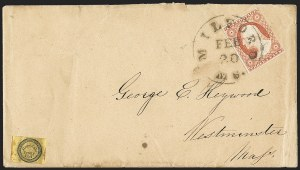 Sale Number 1144, Lot Number 183, 1851-56 Postal History: Carriers & LocalsHopedale Penny Post, Milford Mass., (1c) Black on Yellow Wove (84L3), Hopedale Penny Post, Milford Mass., (1c) Black on Yellow Wove (84L3)