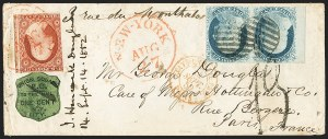 Sale Number 1144, Lot Number 189, 1851-56 Postal History: Carriers & LocalsUnion Square Post Office, New York N.Y., 1c Black on Dark Green (141L1), Union Square Post Office, New York N.Y., 1c Black on Dark Green (141L1)