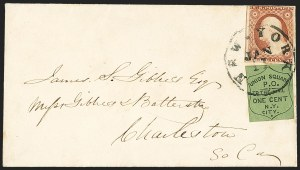 Sale Number 1144, Lot Number 190, 1851-56 Postal History: Carriers & LocalsUnion Square Post Office, New York N.Y., 1c Black on Dark Green (141L1), Union Square Post Office, New York N.Y., 1c Black on Dark Green (141L1)
