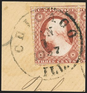 Sale Number 1145, Lot Number 318, 1851-56 Issue3c Claret, Ty. II, Chicago Perf 12-1/2 (11A var), 3c Claret, Ty. II, Chicago Perf 12-1/2 (11A var)