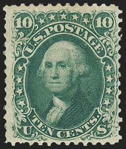 Sale Number 1145, Lot Number 350, 1861-68 Issues10c Dark Green, First Design (62B), 10c Dark Green, First Design (62B)