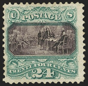 Sale Number 1145, Lot Number 372, 1869 Pictorial Issue and Re-Issue24c Green & Violet, Without Grill (120a), 24c Green & Violet, Without Grill (120a)
