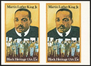 Sale Number 1145, Lot Number 595, Modern Errors (Scott 1735b thru 1945c)15c Martin Luther King, Jr., Imperforate Pair (1771a), 15c Martin Luther King, Jr., Imperforate Pair (1771a)
