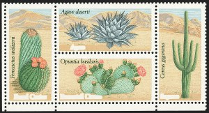 Sale Number 1145, Lot Number 612, Modern Errors (Scott 1735b thru 1945c)20c Desert Plants, Block of Four, Deep Brown Omitted (1945b), 20c Desert Plants, Block of Four, Deep Brown Omitted (1945b)