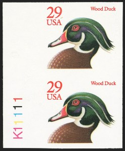 Sale Number 1145, Lot Number 661, Modern Errors (Scott 2438e thru 2853b)29c Wood Duck, Perf 10, Booklet Pane of Ten, Imperforate Between, Perf 11, Imperforate Pair (2484g, 2485c), 29c Wood Duck, Perf 10, Booklet Pane of Ten, Imperforate Between, Perf 11, Imperforate Pair (2484g, 2485c)