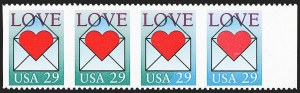 Sale Number 1145, Lot Number 673, Modern Errors (Scott 2438e thru 2853b)29c Love, Horizontal Pair, Imperforate Vertically, Green Omitted (2618a, 2618b), 29c Love, Horizontal Pair, Imperforate Vertically, Green Omitted (2618a, 2618b)