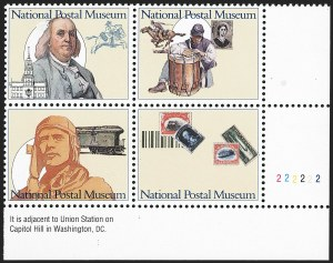 Sale Number 1145, Lot Number 680, Modern Errors (Scott 2438e thru 2853b)29c National Postal Museum, Block of Four, Maroon & Black Engraved Omitted (2782b), 29c National Postal Museum, Block of Four, Maroon & Black Engraved Omitted (2782b)