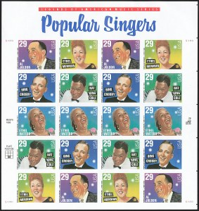 Sale Number 1145, Lot Number 682, Modern Errors (Scott 2438e thru 2853b)29c Popular Singers, Pane of 20, Imperforate (2853b), 29c Popular Singers, Pane of 20, Imperforate (2853b)