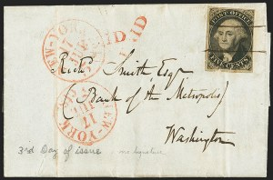 Sale Number 1146, Lot Number 1329, 1845 New York Postmasters ProvisionalNew York N.Y., 5c Black, Without Signature (9X1e), New York N.Y., 5c Black, Without Signature (9X1e)