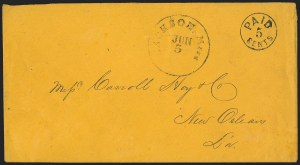 Sale Number 1146, Lot Number 1601, Civil War: Confederate Postmasters ProvisionalsJackson Miss., 5c Black entire (43XU1), Jackson Miss., 5c Black entire (43XU1)