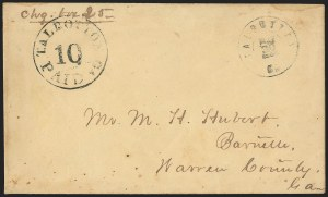Sale Number 1146, Lot Number 1631, Civil War: Confederate Postmasters Provisionals, cont.Talbotton Ga., 10c Black entire (94XU2), Talbotton Ga., 10c Black entire (94XU2)