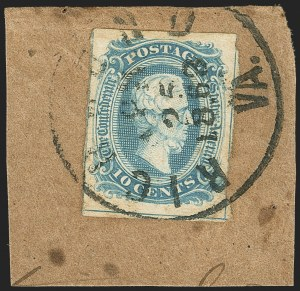 Sale Number 1146, Lot Number 1644, Civil War: Confederate General Issues10c Blue, Frameline (10), 10c Blue, Frameline (10)