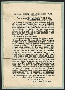 "Sale Number 1147, Lot Number 1, Post Office Announcement, Gem single, Siderographer Block""Special Stamp for Aeroplane Mail Service,"" Post Office Department Circular, ""Special Stamp for Aeroplane Mail Service,"" Post Office Department Circular"