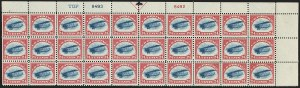 "Sale Number 1147, Lot Number 10, Blue TOP Only Plate Block24c Carmine Rose & Blue, 1918 Air Post, Blue ""TOP"" Only (C3 var), 24c Carmine Rose & Blue, 1918 Air Post, Blue ""TOP"" Only (C3 var)"