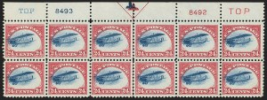 Sale Number 1147, Lot Number 11, Fast Plane Plate Block24c Carmine Rose & Blue, 1918 Air Post, Fast Plane Variety (C3 var), 24c Carmine Rose & Blue, 1918 Air Post, Fast Plane Variety (C3 var)