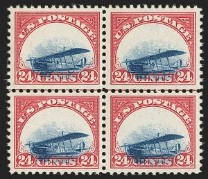 Sale Number 1147, Lot Number 13, Grounded Plane Blocks24c Carmine Rose & Blue, 1918 Air Post, Grounded Plane Variety (C3 var), 24c Carmine Rose & Blue, 1918 Air Post, Grounded Plane Variety (C3 var)