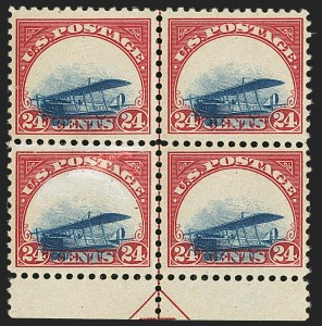 Sale Number 1147, Lot Number 14, Grounded Plane Blocks24c Carmine Rose & Blue, 1918 Air Post, Grounded Plane Variety (C3 var), 24c Carmine Rose & Blue, 1918 Air Post, Grounded Plane Variety (C3 var)
