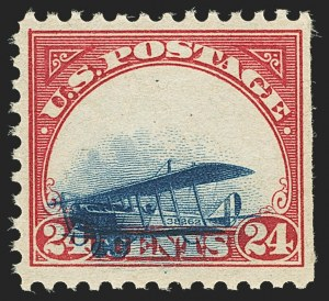 Sale Number 1147, Lot Number 19, Totally Grounded Plane24c Carmine Rose & Blue, 1918 Air Post, Totally Grounded Plane Variety (C3 var), 24c Carmine Rose & Blue, 1918 Air Post, Totally Grounded Plane Variety (C3 var)