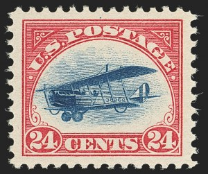 Sale Number 1147, Lot Number 2, Post Office Announcement, Gem single, Siderographer Block24c Carmine Rose & Blue, 1918 Air Post (C3), 24c Carmine Rose & Blue, 1918 Air Post (C3)