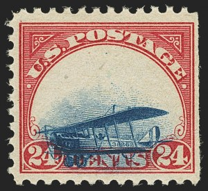 Sale Number 1147, Lot Number 20, Totally Grounded Plane24c Carmine Rose & Blue, 1918 Air Post, Totally Grounded Plane Variety (C3 var), 24c Carmine Rose & Blue, 1918 Air Post, Totally Grounded Plane Variety (C3 var)