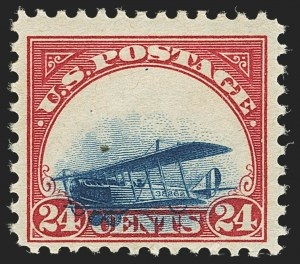 Sale Number 1147, Lot Number 21, Extreme Grounded Plane24c Carmine Rose & Blue, 1918 Air Post, Grounded Plane Variety (C3 var), 24c Carmine Rose & Blue, 1918 Air Post, Grounded Plane Variety (C3 var)