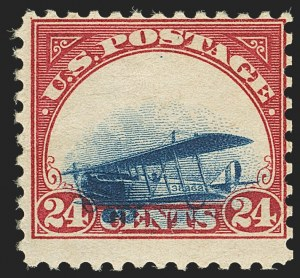 Sale Number 1147, Lot Number 22, Extreme Grounded Plane24c Carmine Rose & Blue, 1918 Air Post, Grounded Plane Variety (C3 var), 24c Carmine Rose & Blue, 1918 Air Post, Grounded Plane Variety (C3 var)