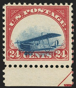Sale Number 1147, Lot Number 23, Mint Never-Hinged Grounded Planes from Sanabria Sheet24c Carmine Rose & Blue, 1918 Air Post, Grounded Plane Variety (C3 var), 24c Carmine Rose & Blue, 1918 Air Post, Grounded Plane Variety (C3 var)
