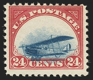 Sale Number 1147, Lot Number 24, Mint Never-Hinged Grounded Planes from Sanabria Sheet24c Carmine Rose & Blue, 1918 Air Post, Grounded Plane Variety (C3 var), 24c Carmine Rose & Blue, 1918 Air Post, Grounded Plane Variety (C3 var)