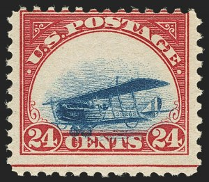 Sale Number 1147, Lot Number 25, Mint Never-Hinged Grounded Planes from Sanabria Sheet24c Carmine Rose & Blue, 1918 Air Post, Grounded Plane Variety (C3 var), 24c Carmine Rose & Blue, 1918 Air Post, Grounded Plane Variety (C3 var)