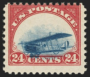 Sale Number 1147, Lot Number 26, Mint Never-Hinged Grounded Planes from Sanabria Sheet24c Carmine Rose & Blue, 1918 Air Post, Grounded Plane Variety (C3 var), 24c Carmine Rose & Blue, 1918 Air Post, Grounded Plane Variety (C3 var)