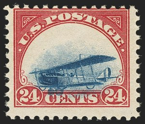 Sale Number 1147, Lot Number 27, Mint Never-Hinged Grounded Planes from Sanabria Sheet24c Carmine Rose & Blue, 1918 Air Post, Grounded Plane Variety (C3 var), 24c Carmine Rose & Blue, 1918 Air Post, Grounded Plane Variety (C3 var)
