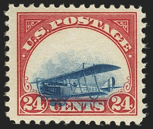 Sale Number 1147, Lot Number 28, Grounded Planes and 10th Row Sanabria Sheet24c Carmine Rose & Blue, 1918 Air Post, Grounded Plane Variety (C3 var), 24c Carmine Rose & Blue, 1918 Air Post, Grounded Plane Variety (C3 var)