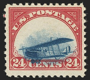 Sale Number 1147, Lot Number 29, Grounded Planes and 10th Row Sanabria Sheet24c Carmine Rose & Blue, 1918 Air Post, Grounded Plane Variety (C3 var), 24c Carmine Rose & Blue, 1918 Air Post, Grounded Plane Variety (C3 var)