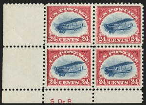Sale Number 1147, Lot Number 3, Post Office Announcement, Gem single, Siderographer Block24c Carmine Rose & Blue, 1918 Air Post (C3), 24c Carmine Rose & Blue, 1918 Air Post (C3)