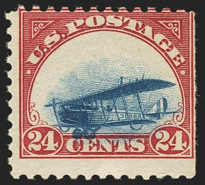Sale Number 1147, Lot Number 33, Grounded Planes and 10th Row Sanabria Sheet24c Carmine Rose & Blue, 1918 Air Post, Grounded Plane Variety (C3 var), 24c Carmine Rose & Blue, 1918 Air Post, Grounded Plane Variety (C3 var)