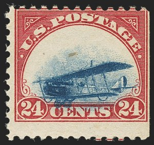 Sale Number 1147, Lot Number 34, Grounded Planes and 10th Row Sanabria Sheet24c Carmine Rose & Blue, 1918 Air Post, Grounded Plane Variety (C3 var), 24c Carmine Rose & Blue, 1918 Air Post, Grounded Plane Variety (C3 var)