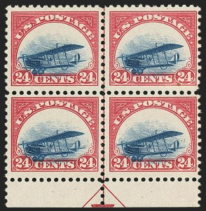 Sale Number 1147, Lot Number 40, Landing or Low Plane24c Carmine Rose & Blue, 1918 Air Post, Landing Plane Variety (C3 var), 24c Carmine Rose & Blue, 1918 Air Post, Landing Plane Variety (C3 var)