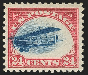 Sale Number 1147, Lot Number 45, Fast and Supersonic Plane24c Carmine Rose & Blue, 1918 Air Post, Fast Plane Variety (C3 var), 24c Carmine Rose & Blue, 1918 Air Post, Fast Plane Variety (C3 var)