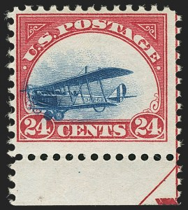 Sale Number 1147, Lot Number 48, Fast and Supersonic Plane24c Carmine Rose & Blue, 1918 Air Post, Fast Plane Variety (C3 var), 24c Carmine Rose & Blue, 1918 Air Post, Fast Plane Variety (C3 var)