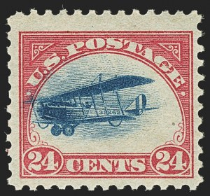 Sale Number 1147, Lot Number 49, Fast and Supersonic Plane24c Carmine Rose & Blue, 1918 Air Post, Fast Plane Variety (C3 var), 24c Carmine Rose & Blue, 1918 Air Post, Fast Plane Variety (C3 var)