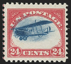 Sale Number 1147, Lot Number 50, Fast and Supersonic Plane24c Carmine Rose & Blue, 1918 Air Post, Fast and High Plane Variety (C3 var), 24c Carmine Rose & Blue, 1918 Air Post, Fast and High Plane Variety (C3 var)