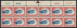 Sale Number 1147, Lot Number 53, Fast and Supersonic Plane24c Carmine Rose & Blue, 1918 Air Post, Fast Plane Variety (C3 var), 24c Carmine Rose & Blue, 1918 Air Post, Fast Plane Variety (C3 var)