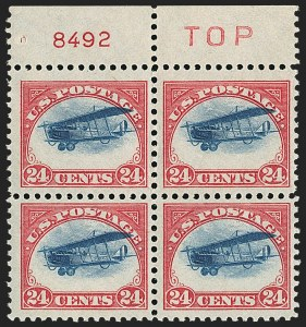 Sale Number 1147, Lot Number 57, High-Flying Plane24c Carmine Rose & Blue, 1918 Air Post, High Flying and Slow Plane Variety (C3 var), 24c Carmine Rose & Blue, 1918 Air Post, High Flying and Slow Plane Variety (C3 var)