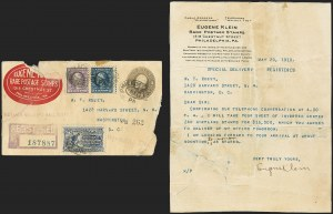 Sale Number 1147, Lot Number 8, Klein-Robey Letter Confirming Purchase of Jenny Invert SheetEugene Klein Letter to William T. Robey, Confirming Purchase of Inverted Jenny Sheet, Eugene Klein Letter to William T. Robey, Confirming Purchase of Inverted Jenny Sheet