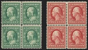 Sale Number 1148, Lot Number 101, One-Cent Green, Two-Cent Carmine (Scott 357-358)1c Green, 2c Carmine, Bluish (357-358), 1c Green, 2c Carmine, Bluish (357-358)
